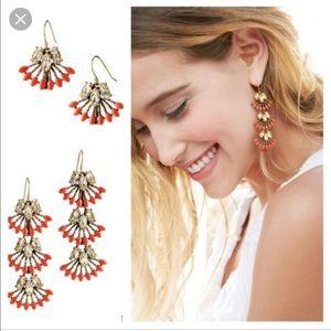 Stella & Dot Coral Cay Earrings w/Box